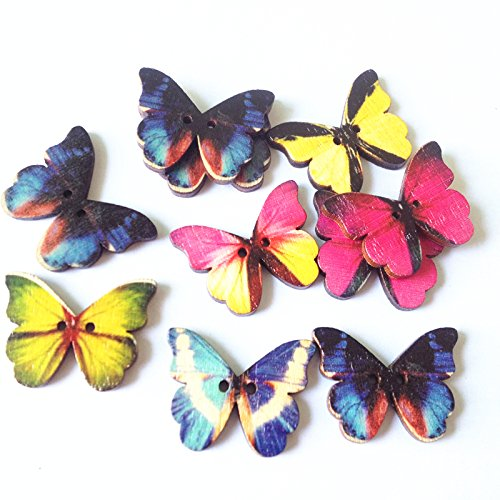 50 pack Butterfly Mixed Wooden Buttons pendants in Bulk for