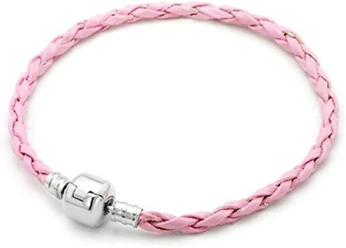 Pugster 19cm Single Weaved Pink Leather Braided Charm Bracelet Wrist Chain Sale For Pandora Charms Beads Pugster Amazon Co Uk Jewellery