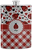 Ladybugs & Gingham Stainless Steel Flask (Personalized)