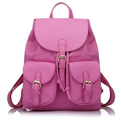 Minetom Pu Cuero Backpack Mochilas Escolares Mochila Escolar Casual Bolsa Viaje Moda Color Sólido Bolsillo Mujer Rosa Roja