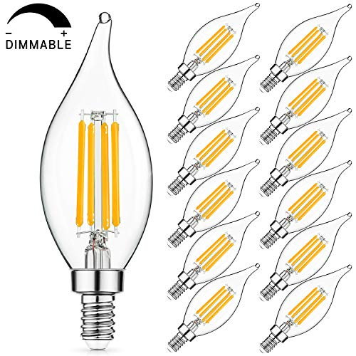 (SHINE HAI Dimmable LED Candelabra Bulbs 60W Equivalent, 2700K Warm White, 600 Lumens, E12 Filament LED Chandelier Bulbs, Decorative Candle Light Bulbs with Glass Flame Tip, Pack of 12)