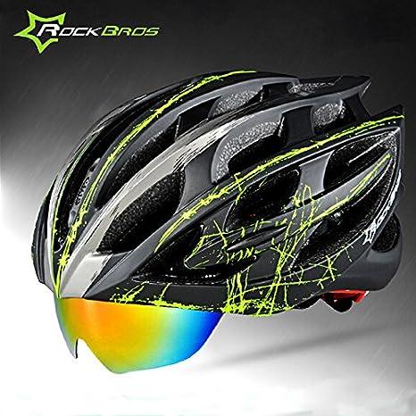 RockBros Black Red Helmet Road Bike MTB Cycling Helmet with 3 Lenses