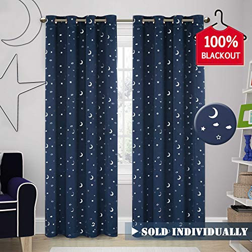 H.VERSAILTEX Full Blackout Window Curtains Moon and Star Curtain for Girl's Room Thermal Insulated Noise Reducing Grommet Top Window Treatment for Baby Nursery Room (1 Panel, 52 by 84 Inch,Navy)