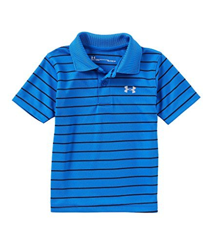 Under Armour Boys' UA Logo Short Sleeve Polo (18M, Ultra Blue (27D74083-41)/Black Stripes/Reflective Silver) by Under Armour