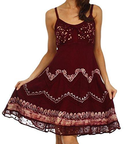 Sakkas 414031 Jolie Batik Embroidered Adjustable Spaghetti Strap Dress - Chocolate/Cream - 1X/2X