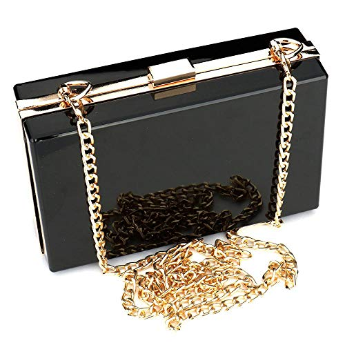 Women Bag Through Box Handbag Cross Body Purse Clutch Acrylic Evening See Cute Evening Black Bag Clear Transparent 5dnSYw