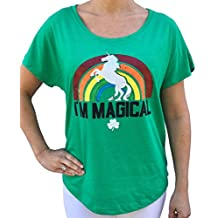 SoRock ST. Patrick's Day I'm Magical Rainbow Unicorn Tri Blend Dolman Tshirt Green