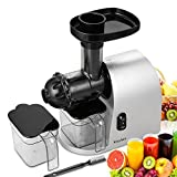 rateim 200W Slow Masticating Juicer Extractor Cold Press Stainless Steel Vertical Slow Juicer with Cleaning Brush