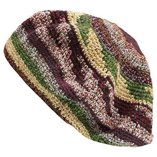 Inspirit Arts Tam Berets Hat Maroon and Earthtone Pinwheel Crochet Knit Slouchy Dreadlock Cap