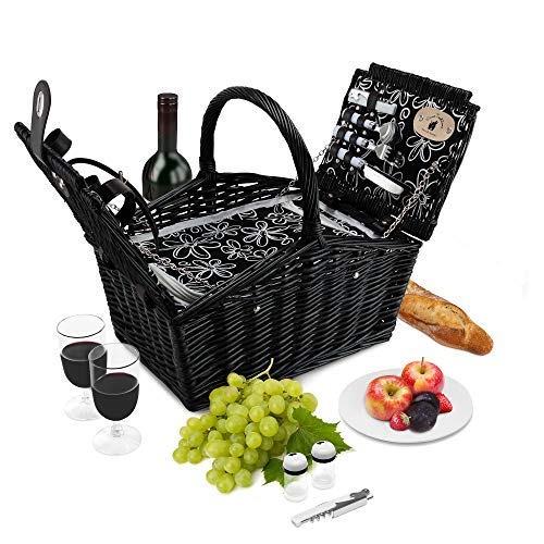 - Wicker Picnic Basket Set | 2 Person Deluxe Double Lid Style Woven Willow Picnic Hamper | Built-in Cooler | Ceramic Plates, Stainless Steel Silverware, Wine Glasses, S/P Shakers, Bottle Opener (Black)