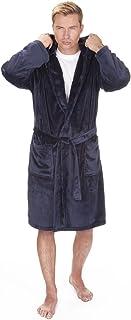 Pierre Roche Mens Soft Hooded Flannel Fleece Dressing Gown. Black, Navy Grey. Sizes M L XL 2XL 3XL 4XL 5XL