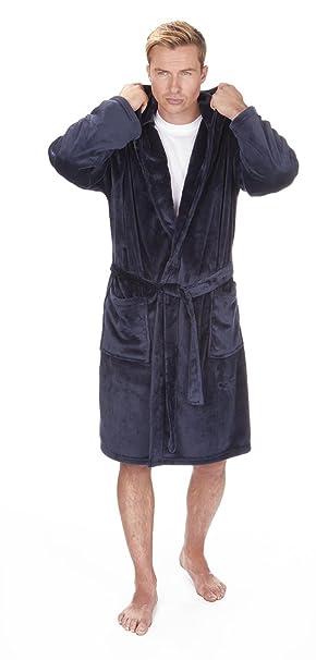 CABALLEROS Suave Con Capucha Franela Vestido De Lana bata. Negro, Azul Marino O Gris Tallas M L XL 2xl 3xl 4xl 5xg: Amazon.es: Ropa y accesorios
