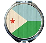 Rikki Knight Djibouti Flag on Distressed Wood Design Round Compact Mirror