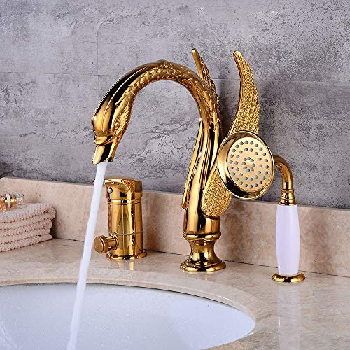 (MOODSC European Gold Three-Hole Faucet Swan Three-Piece Bathroom Wash Basin Faucet Gold Hot And Cold Basin Faucet)
