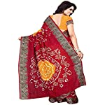 Dencraw Women's Bandhani Cotton Saree with Blouse Piece (Maroon)
