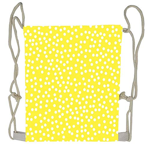 (WATINCFlagHomegg Bright Yellow And White Polka Dot Drawstring Tote Bag Cinch Gym Bags Storage Backpack for Boys Girls)