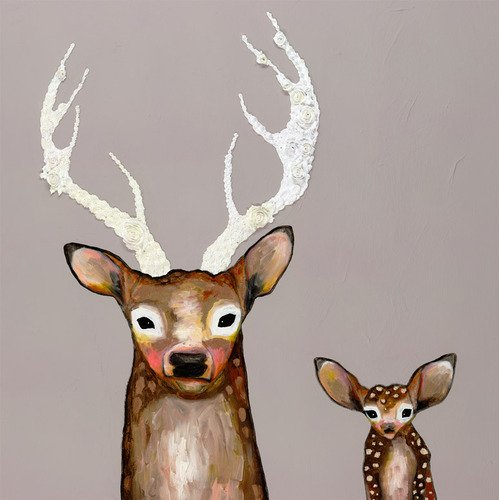 GreenBox Art + Culture Frosted Buck and Baby by Eli Halpin Canvas Wall Art, 39 by 39-Inch by GreenBox Art + Culture