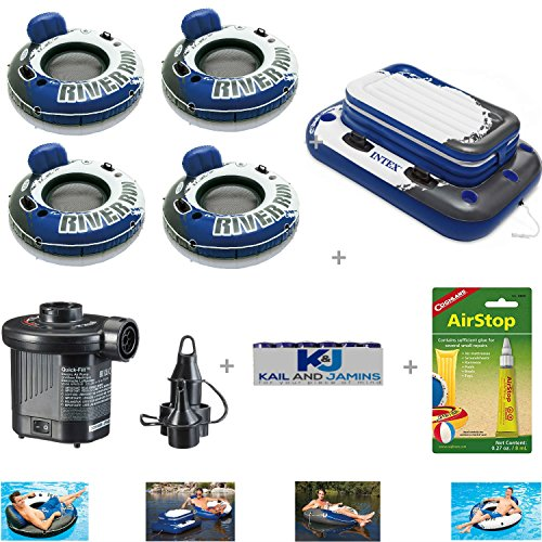 Inflatable River Tubes & Floating Cooler Set + Accessories – 4 River run Tubes + 1 Cooler Float + Electric Air Pump (Batteries Inc) + Raft Patch Repair Kit – - Valley Center River Hours