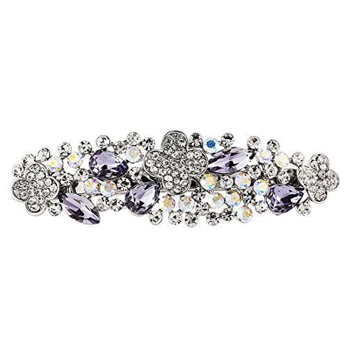 Bridal Hair Barrette Rhinestone Crystal Clip Wedding Art Deco Flower Vine Barrettes (Silver Metal)