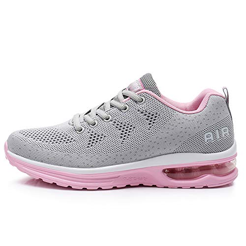 QAUPPE Womens Fashion Lightweight Air Sports Walking Sneakers Breathable Gym Jogging Running Tennis Shoes (Pink US 8.5 B(M) (Best Ladies Tennis Shoes)