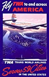 Fly TWA to and Across America Vintage Poster (artist: Oltesz) USA c. 1950 (9x12 Art Print, Wall Decor Travel Poster)