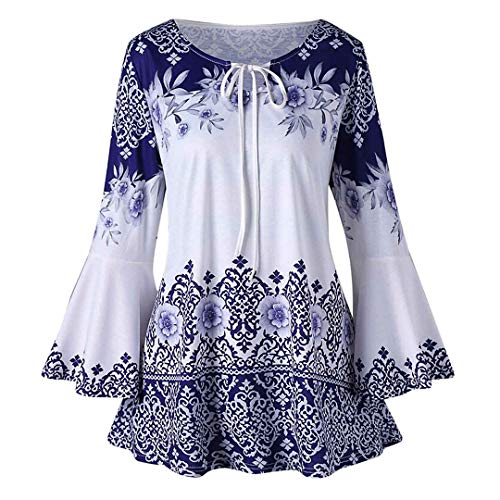 - XVSSAA Womens Plus Size Blouse T-Shirts, Ladies Long Sleeve Flare Sleeve Keyhole Drawstring Strappy Print Top Blue