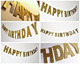 SUNBEAUTY 2.5m Gold Sparkly Glitter Banner Happy Birthday Banner Party Decor Photo Backdrop Party Decoration