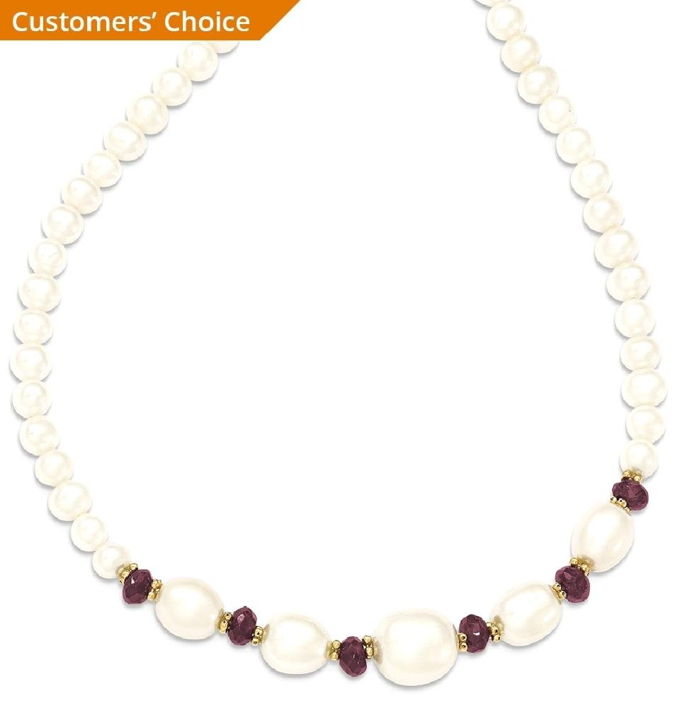 ICE CARATS 14k Yellow Gold Freshwater Cultured Pearl Faceted Red Garnet Bead Chain Necklace Fine Jewelry Gift Set For Women Heart by ICE CARATS (Image #2)