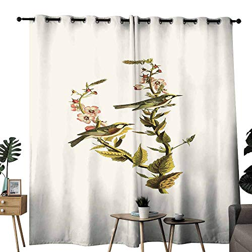 duommhome Decorative Curtains for Living Room Chinese Element-Chinese Painting Noise Reducing W72 x L108 Flower and Bird Singing