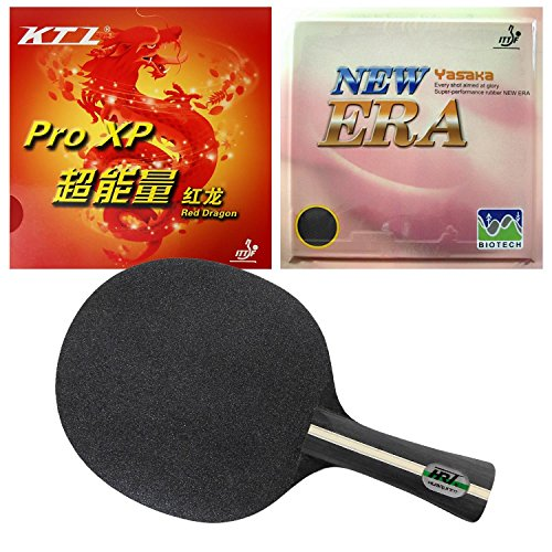 HRT Black Crystal Long FL Blade with Yasaka ERA 40mm NO ITTF and KTL Pro XP Red Dragon Rubbers by Tianjin Guanghe Sports Equipment Co., Ltd.