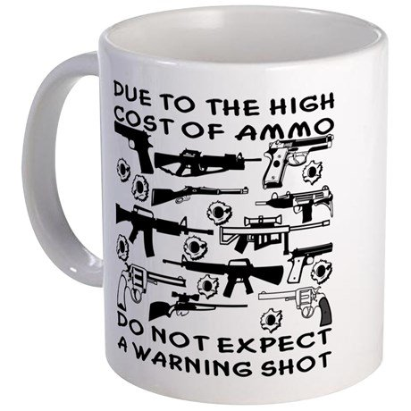 NO WARNING SHOT - 11-oz Funny Shooter Hunting Long Gun Bow Archery Buck Arrow Deer Bear Target Rifle Ceramic Coffee Mug Cup with Large Handle Perfect Gift for Dad Husband Grandpa Fathers Day