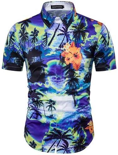 LFNANYI Camisa de Playa con Estampado de árbol de Coco Azul para Hombres Nueva Manga Corta para Hombre Camisa Hawaiana Casual Slim Fit Camisa de algodón para Hombre: Amazon.es: Deportes y aire