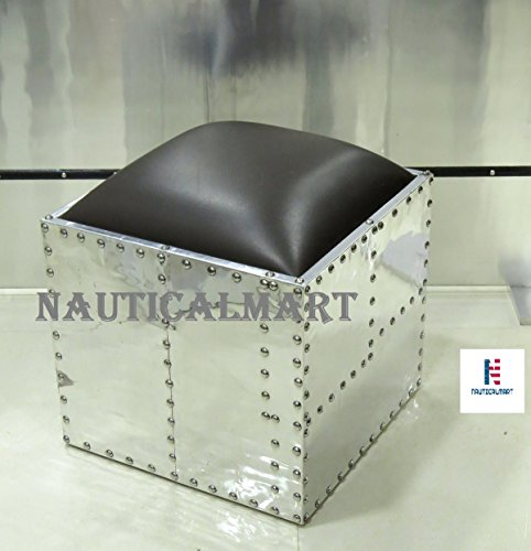 Alunimum Square Ottoman Side Table by NAUTICALMART