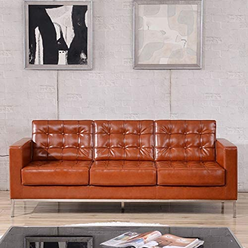 Flash Furniture HERCULES Lacey Series Contemporary Cognac LeatherSoft Sofa
