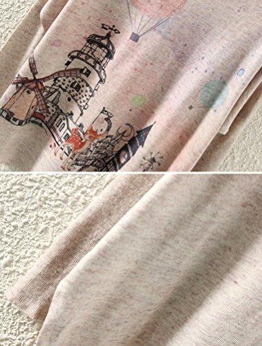 Basique Imprims Pull Manches a Lger Style10 MatchLife Petit Femme Thmatiques beige Top Haut Tricot Longues PqccB8wF