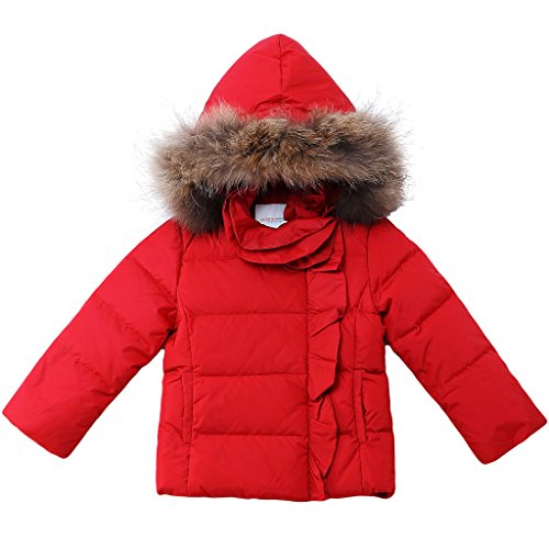 Oceankids Little Toddler Girls' Red Short Parka Fur Trim Detachable Hood & Zip Closure Down Coat 6-7 Years by OCEANKIDS