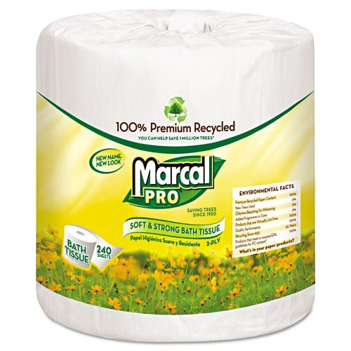 Marcal PRO 100% Premium Recycled Bathroom Tissue - Includes 48 rolls of bathroom tissue. (Bath Tissue Premium Marcal)