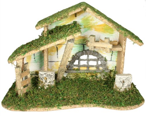 BANBERRY DESIGNS Wooden Nativity Stable – Large Creche Measuring 8 1 2 Tall – Moss, Wood and Bark – Traditional Nativity Manager