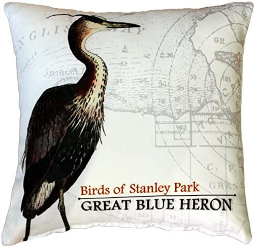 18 Teal Blue /& Green BirdBirds Naturalist PrintPattern ToileNature Blue Heron Throw Pillow or Cover 20 or 26 Sq Pillows or Covers 16