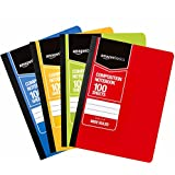 AmazonBasics Wide Ruled Composition Notebook, 100-Sheet, Assorted Solid Colors, 4-Pack