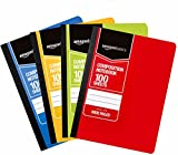Office Products : AmazonBasics Wide Ruled Composition Notebook, 100-Sheet, Assorted Solid Colors, 4-Pack