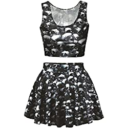 NonEcho Womens Vintage 3D Print Reversible Crop Top+Skirt 2 Pieces Size XL US Skull Heads