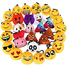 "Dreampark Emoji Keychain, Emoji Key Chain Mini Plush Pillows, Party Favors for Kids, Valentines Gifts / Birthday Party Supplies 2"" Set of 30"