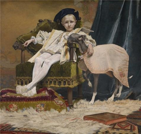 High Quality Polyster Canvas ,the Beautiful Art Decorative Canvas Prints Of Oil Painting 'Jan Van Beers - The Emperor Charles V As A Child, 1879', 16x17 Inch / 41x43 Cm (Betsy Ross As A Child)