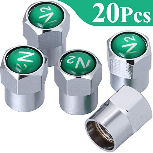Onwon 20 Pieces Chrome Plated Brass Tire Valve Stem Caps N2 Nitrogen Sign Logo Dustproof Valve Covers for Auto Cars Tire Valve