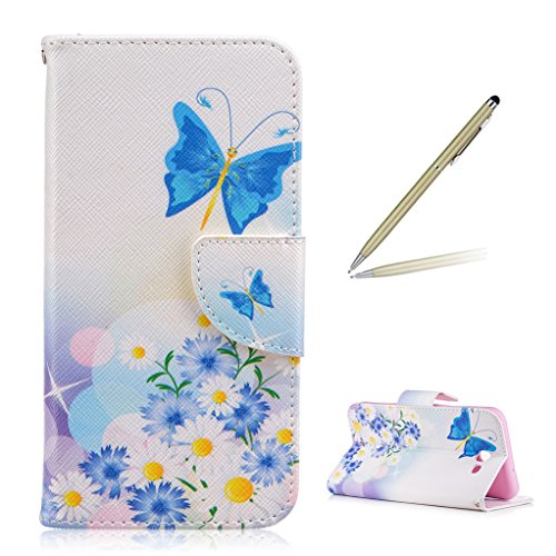 Trumpshop Smartphone Protective Case for Samsung Galaxy J7 Sky Pro (TracFone) SM-J727 [Butterfly Fairy] Premium PU Leather Flip Wallet Cover Bookstyle Stand Feature Shockproof