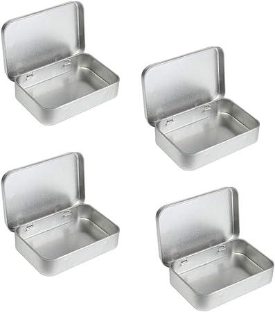 Healifty 8Pcs Caja de Lata Rectangular de Metal Pequeña Caja de Almacenamiento de Latas Superiores con Bisagras Vacías Caja de Almacenamiento de Contenedores Portátiles (Plata): Amazon.es: Hogar