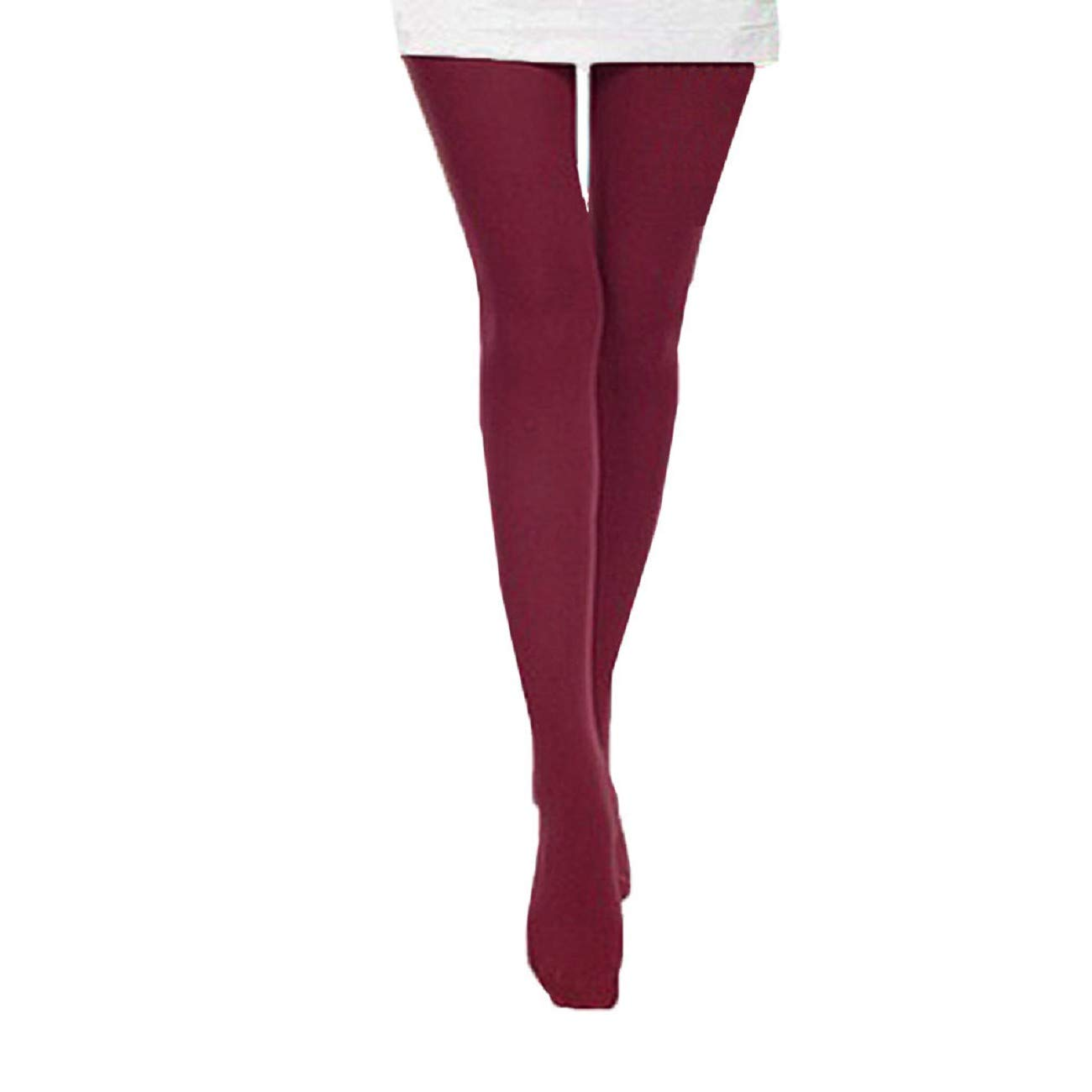 JKLING Autumn Slik Felling Stocking Opaque Tights Solid Candy Color Stretchy Leggings Tights Office Long Pants