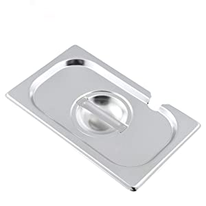 1/9 Size Stainless Steel Slotted Steam Table Pan Cover, Pan Lids, Non-Stick Surface, Lid for 1/9 Size Steam Pans with Handle