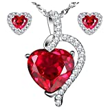 MABELLA Sterling Silver Heart Jewelry Sets 5.1 CTW Simulated Ruby Pendant Earrings Set, Gifts for Women